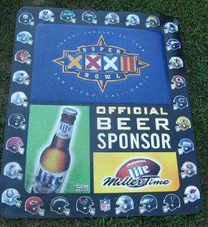 1998 Miller Lite Super Bowl XXXII Metal Sign Ad  36x30