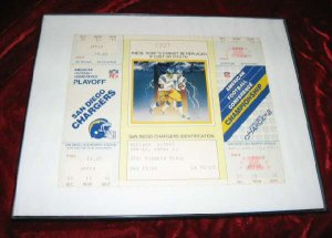 1982 AFC Championship Playoff Game Ticket CHARGERS Stub