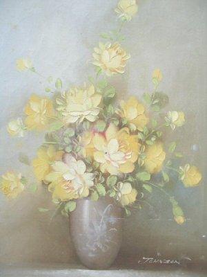 Artistic Interiors Original Oil Painting Flowers Signed Johnson