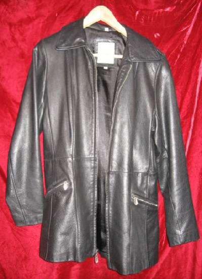 Lady's Womens Avanti Black Leather Jacket Coat M $330