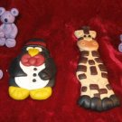 Lot 6 Hand Crafted Clay Bear Giraffe Penguin Folk Art