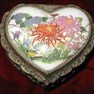 Vintage Porcelain Brass Music Jewelry Box Sankyo Japan