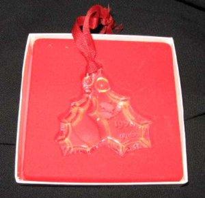 1990 Orrefors Mistletoe Holly Leaf Berry Glass Christmas Ornament