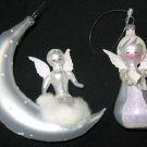 2 Angel Christmas Ornament Moon Reading