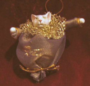 Unique Fabric Cat Stockings Christmas Ornament Gold