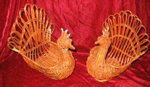 2 Vintage Wicker Turkey Napkin Holder Basket Thanksgiving