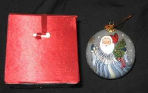 Vintage Glass Ball Christmas Tree Santa Ornament + Box