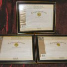 3 Wooden Black & Gold Document Frame 8.5x11 USA