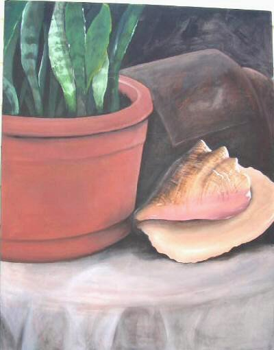 Original Water Painting on Canvas Unframed Plant Shell 28x32