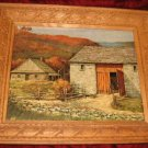 Vintage Print Carved Wooden Frame Farm House