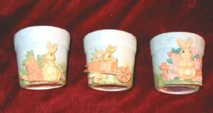 3 NEW RUSS Spring Easter Bunny Candle & Holder