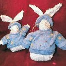 Pair of NEW Crazy Mountain Blue & White Easter Bunny Rabbit Sweater