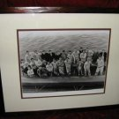 4 Vintage B&W Rutgers RU Crew Team Framed Matted Prints