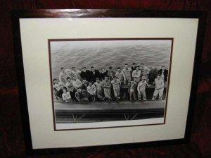 4 Vintage B&W Rutgers RU Crew Team Framed Matted Prints