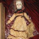 Vintage 80's Porcelain Doll w/ Dress & Hat Blonde Hair