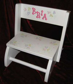 Giftmark 9005W Kids Small Flip White Wooden Stool Bench Floral