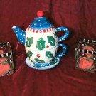 New Bella Casa Ganz Hand Painted Tea For One Set Bonus Christmas