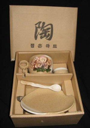 4pc Handpainted Stoneware Tea Cup & Saucer Spoon Korean