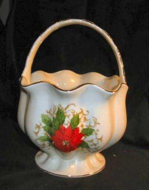 Essex Poinsettia Lace Porcelain Basket Floral Vase