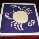 Vintage Framed Cross Stitch Fabric Wall Decor Crab 69