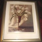 "Framed Floral Vase print signed 19""x23"" Matted Wooden"