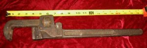"""Vintage 18"""" Trimo Pipe Wrench Pat'd 1889 Trimont USA"""