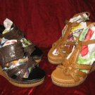 2 Rouge Helium Straps Platform Wedge Sandals Shoes 6.5