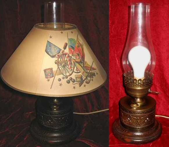 Vintage Brass Eagle Electric Hurricane Oil Table Lamp W Shade