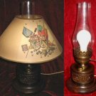Vintage Brass Eagle Electric Hurricane Oil Table Lamp w/ shade