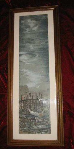 Vintage Framed Expressionist Print Harbor Quality American Craftsmanship