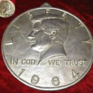 Vintage Metal Wall Coin Plaque John F. Kennedy JFK + 1967 Silver Coin