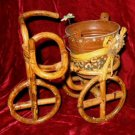 Handcrafted Cane Mini Tricycle Cyclo Taxi Plant Holder