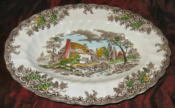 Vintage Myott Fine Staffordshire Ware The Brook Oval Plate