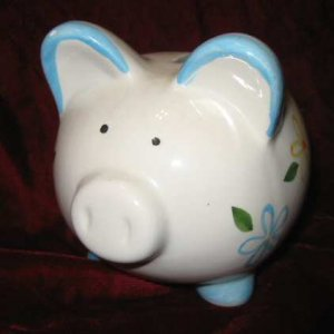 Small Cute Ceramic Piggy Bank Floral White Blue