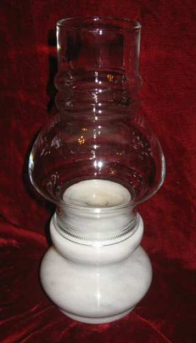 Vintage Marble Glass Hurricane Shade Candle Holder