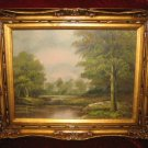 Vintage Lake Scenery Oil Painting on Canvas Gold Frame Anco Bilt Erik Signed