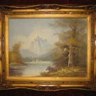 Vintage Lake Fall Scenery Oil Painting on Canvas Gold Frame Anco Bilt Mallina Signed