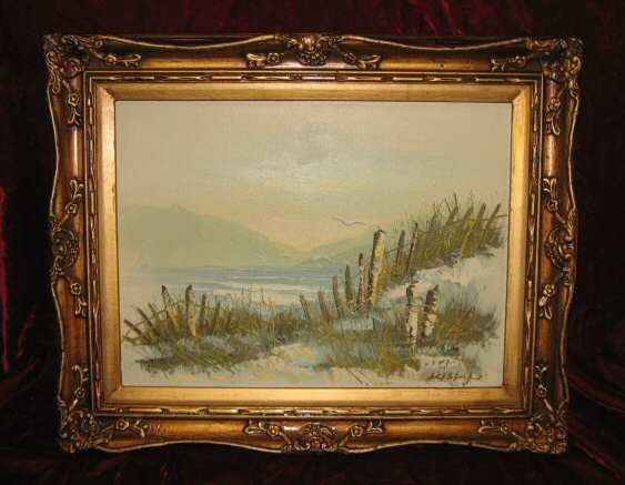 Vintage Beach Scenery Oil Painting On Canvas Gold Frame Anco Bilt