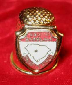 US South Carolina Palmetto State Souvenir Gold Thimble