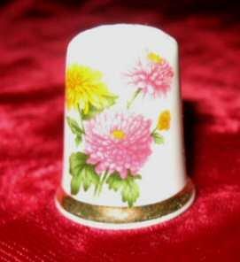 Finsbury Wild Flowers Porcelain Bone China Thimble England
