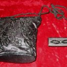 Vintage Black Purse Handbag Evening Bag + Lipstick Holder Case