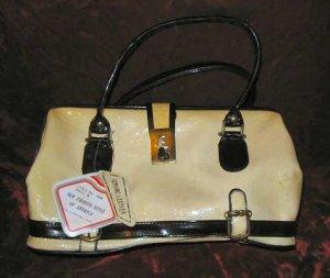 Vintage New Cream Leather Purse Handbag Evening Bag