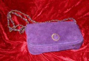 Purple Suede Leather Purse Handbag Shoulder Evening Bag