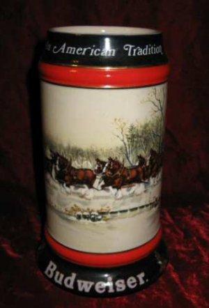 1990 Budweiser Clydesdale Holiday Stein Mug An American Tradition Susan Sampson CS112