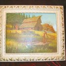 Vintage Chic Framed Print Shabby Country Red Barn Farm Water Pump