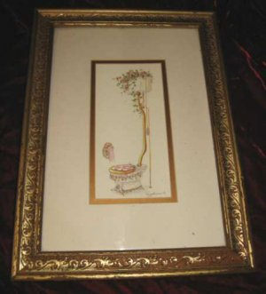 Vintage Peggy Abrams Floral Commode Gold Framed Art Print Toilet
