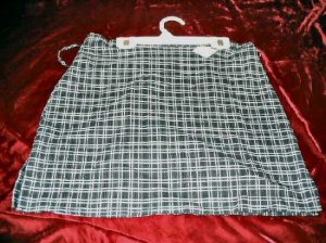 NEW High Fashion Stretch Gray Mini Plaid Skirt Size L Business Sexy USA