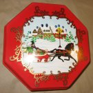 Vintage Ullman Christmas Red Plastic Octagon Box Winter Horse Sled Snow