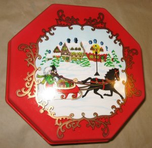 Vintage Ullman Christmas Red Plastic Octagon Box Winter Horse Sled Snow