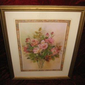 Nice Rose Floral Flower Art Print Poster Wooden Gold Frame